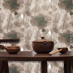 Yirui 큰 잎 부직포 TV 부직포 벽지 배경 일반 컬러 매칭 패션 시멘트 회색 로터스 잉크 벽지