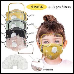 Cara niños máscara máscaras anti-polvo del partido Niños Impreso Moda PM2.5 reutilizable lavable cubrir la cara con 2 filtros de válvulas extraíbles Ojos Shield