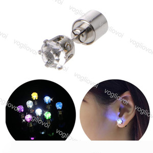 LED Earring Light Up Crown Glowing Crystal Stainless Ear Drop Ear Stud Earring Jewelry For Women Christmas Gifts EPACKET
