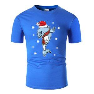 Dolphin dabbing Yılbaşı Noel Present, Amp oluşturun; Erkek Pamuk O Yaka T-Shirt Artı Boyutu için Tişörtlü S-5XL Yüksek Kalite