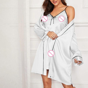 Bathrobe fat MM Sexy Skirt Underwear Plus size red underwear lace panel perspective nightdress with eye mask set