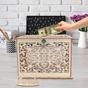 Wedding Card Box With Lock Baby Shower Decor Wooden Gift Boxes DIY Rustic Money Box Graduation Birthday Evening Party Decoration Supplies