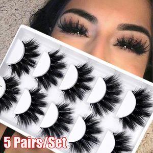 5 paires 4D Faux Mink Faux Cils Wispies Sillonnez Fluffy Lash Outils de maquillage à long yeux naturels main Cruauté