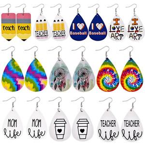 New Design Leather Earrings Math Teacher Pencil Water Drop Earrings Fashion Jewelry Graduation Season Gifts