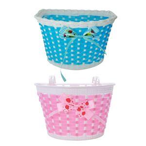 2 Pcs Children Bicycle Basket: 1 Pcs Blue Bike Flowery Front Basket Bicycle Cycle Shopping Stabilizers & 1 Pcs Pink Children Bic