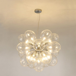 Modern Molecular Goose Egg Chandelier Clear Bubble Glass Pendant Lamp Living Room Dining Room Ceiling Light Fixture PA0490