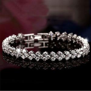 DHL free Austria Shining Crystal Bracelets Silver Charms Bracelet Zircon Diamond Roman Tennis Link Bracelet Jewelry