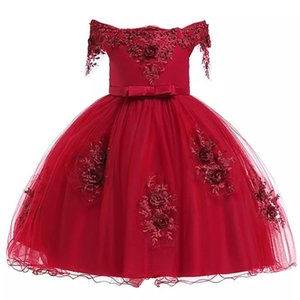 Christmas Kids Dress Girls Pageant Birthday Party Wedding Beads Flower Girls Dresses for Girls Formal Evening Dress T200709