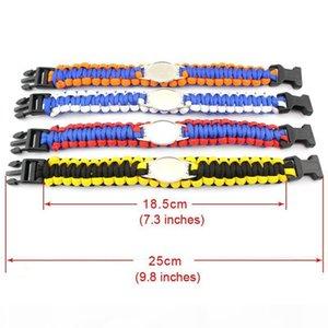 E Mix Styles Football Team Paracord Survival Bracelets Custom Made Outdoor Camping Sports Bracelet Customized Logo Team Umbrella Bracel