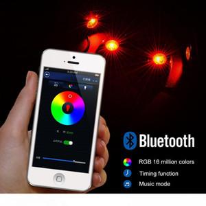9W alta potencia de Bluetooth Mini 4 vainas CREE LED RGB kit de luz de la roca Por debajo del vehículo del carro del coche SUV de bricolaje
