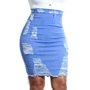 Hole Tassel Denim Skirt Women Summer 2019 High Waist Sexy Fashion Bodycon Pencil Vintage Destroyed Solid Blue Ladies Short Skirt T200712