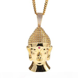 O New Gold -Plated Large Buddha Head Necklace European And American Hip -Hop Copper Inlaid Zircon Domineering High -Quality Necklace