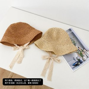 OX7qn Chen Chen children's plaited fisherman's Summer Fisherman Sunscreen straw hatGirl's sunscreen hat children's baby's cute casual lace s