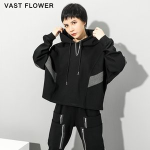 Oversized Women Sweatshirt Hit Color Patchwork Hoodie Pullover Tops Loose Plus Size Fashion Clothes Hoodies Spring Autumn 2020