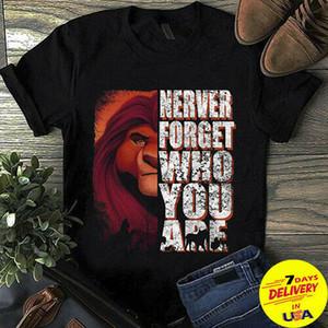 Муфаса The Lion King Never Forget Who You Are T Shirt Black Хлопок Мужчины Мужчины Женщины Мужская мода тенниску Бесплатная доставка