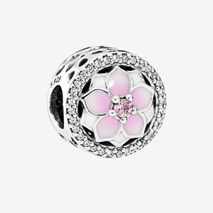 Rosa Magnolia 925 prata esterlina encanto cobra corrente da pulseira colar acessórios jóia para encantos de flores Pandora com caixa original