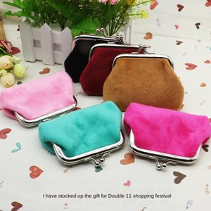 2015 New flannel hand bag ladies hand pocket coin purse candy color mini coin bag small gift