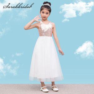 Cute Sequins Flower Girls Dresses Elegant Princess Children Sleeveless Party Dress Wedding Gown for Kids Birthday Vestido Wear