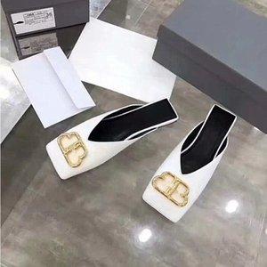 2020 Design unico esemplare BB e L in pelle piatta scarpe pantofole puntale nappa B spiaggia testa quadrata scarpe da regalo e pantofole di lusso