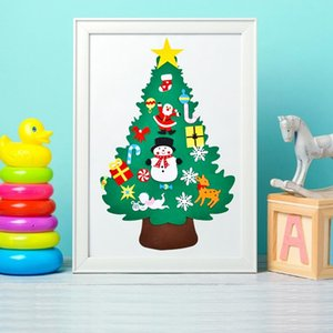 DIY Felt Christmas Tree Pendants Wall Hanging Decoration Stickers Xmas Ornaments Children Gift for Home Christmas Decoration