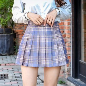 Harajuku Short Skirt New Korean Plaid Skirts Women Zipper High Waist School Girl Pleated Plaid Skirt Sexy Mini Skirt Plus Size T200712