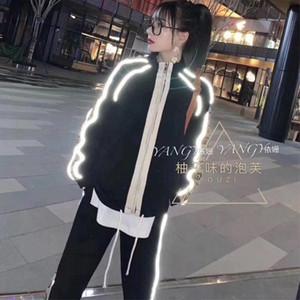 el juego ocasional para las mujeres la nueva primavera 2020 populares de empalme lado del logotipo g imprimir reflexivo chaqueta de dos piezas