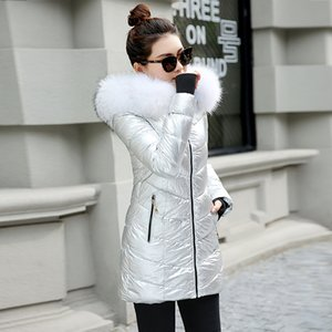 2020 New Female Glossy Casual Jackets Winter Jacket Women Big Fur Hooded Thick Down Cotton Female Coat Slim Warm Outwear