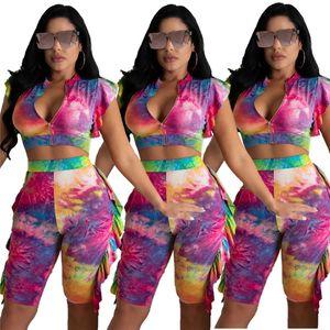 Tie Dye Ruffle Womens 2pcs Floral Zipper Slim Crop Top Cardigan Womens Designer Tracksuits Colorful Casual Summer Female 2PCS