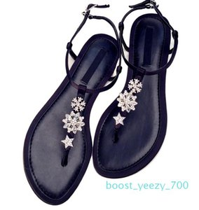 Hot Sale-new rhinestone sandals female summer toe Rome shoes wild flat shining diamond star clip toe sandals female sandals Sandal b70