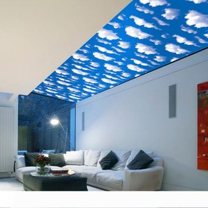 3D Blue Sky White Cloud Scenery Window Art Design Removable Wall Sticker Living Room Home Decals Decor Wallpaper Free Shipping