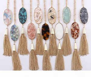 2018 Christmas Gifts 11 Colors Option Leopard Resin Tortoise Natural Turquoise Abalone Oval Shaped with Tassel Pendant Long Necklace