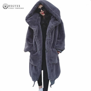 Winter Woman Coat Teddy Jacket Faux Fur Outerwear Hair Thick Long Plush Coat plus size loose Ponchos Capes OKD6001