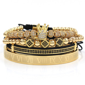 3pcs / set + numeri romani in acciaio bracciale in titanio paio braccialetto / corona / per gli amanti / bracciali per i monili degli uomini delle donne di lusso