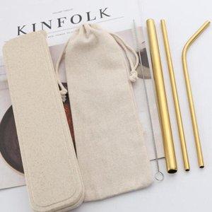 Acciaio inossidabile Straw insieme riutilizzabile dritto potabile Bend sacchetto del metallo con la spazzola placcato Milk Tea bevanda regalo DHE110