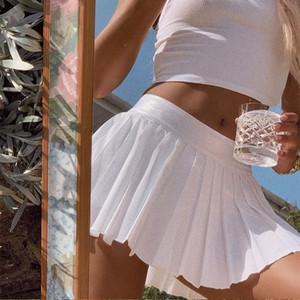 Plissee A-Linie Minirock Frauen-Sommer-beiläufige feste weiße kurze Röcke weiblich 2020 Fashion Black Röcke Damen Süße Kleidung