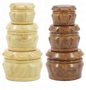 Wood Tobacco crusher Herb Grinder 2019 new 4 piece 40m 50mm 55mm 63mm Smoking Set pollen press catcher drum-shape metal