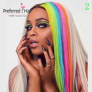 Bevorzugte Rainbow Color Rot Blau Grün Highlight Perücke brasilianische Remy gerade Spitze-Front-Perücke Ombre Menschenhaar-Perücken für Frauen