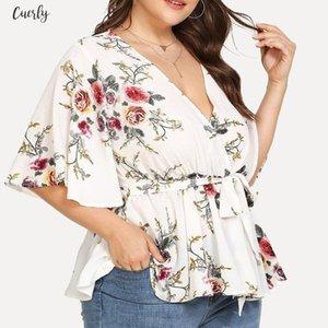 Kadın Bluz Ve Gömlek 2020 Yaz Derin V Yaka V Yaka Çiçek Baskılı Tunik Gömlek Bandaj Büyük Beden Gevşek Bluz Camisa Tops