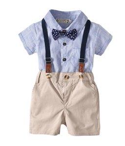 Cross border new boys gentleman suit summer Short Sleeve Striped Shirt bow tie shorts strap 4 Piece Set