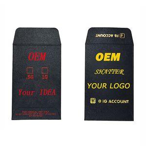 Mini OEM Shatter Envelope Black Cardboard Foil Stamping Your Own Design Logo Stylish Printed Edibles Envelopes Concentrates Custom Packaging
