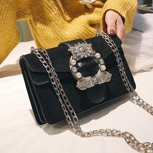 Factory wholesale women handbag fashion frosted leather women chain bag sweet bow Pearl women shoulder bag trend diamond fashion bag