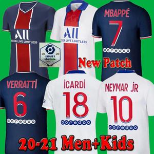 Maillots de fútbol kit 20 21 2020 2021 fútbol jersey París Mbappé ICARDI Marquinhos Camisetas de futbol Neymar hombres camisa JR niños conjuntos