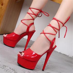 Sandalet 2021 kadınlar için 15 cm seksi kadın ayakkabı yüksek topuklu moda gösteri ince topuklu kutup dansı 34-43 siyah kırmızı