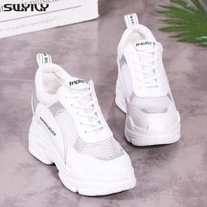 SWYIVY Sneakers White Women's Wedge High Heel Platform Shoes 2020 Summer Female Casual Shoes Mesh Hollow Sneakers Breathable MX200425