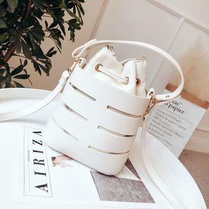 Drawstring bucket bag ladies 2020 mini PU leather crossbody bag ladies shoulder bag women handbag solid color