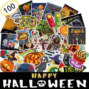 100pcs lot Halloween Car Sticker Pumpkin Ghost Shape Motorcycle Cartoon Sticker Laptop Skateboard Luggage Decal Home Decoration DBC VT0556
