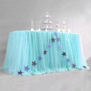 Розовый Тюль Таблица Юбка для прямоугольника или Круглые столы Туту Скатерть для принцессы Baby Shower Девочка Пол Reveal Birthday Party DHD200