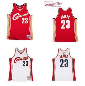 Erkekler ClevelandCavaliers23LebronJames Mitchell Ness 2003-04 Kırmızı-Beyaz Parke Klasikleri Otantik Jersey