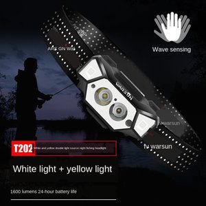 Wolfson T202 индукционная головка сильная зарядка супер яркий светодиодный головной смонтированный Cap Night Fishing вспышки фонарика свет Открытый