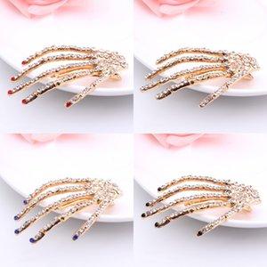 Clips de envío de DHL muchachas de las mujeres del pelo del cráneo de cristal de las horquillas de la muchacha del Rhinestone beso jefe de la chispa de Bling Hairclip pelo Accesseries DWC617